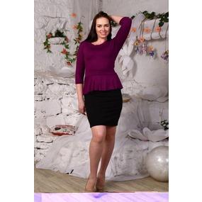 Платье Ирэн однотонное сирень+черный Д425 р 54 фото