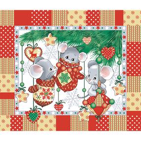 Ткань на отрез вафельное полотно 50 см 170 гр/м2 204441 Веселые мышата фото