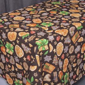 Скатерть рогожка 12214/1 Цитрус цвет коричневый 150/150 фото