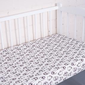 Простыня трикотажная на резинке Премиум Пингвин 2266-V4 60/120/12 см фото