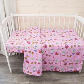 Постельное белье в детскую кроватку из бязи 1304/2 Лесная сказка цвет розовый ГОСТ фото