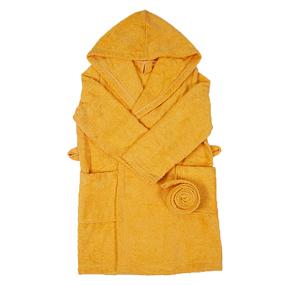 Халат детский махровый с капюшоном желтый 104-110 см фото
