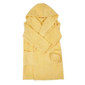 Халат детский махровый с капюшоном светло-желтый 104-110 см фото