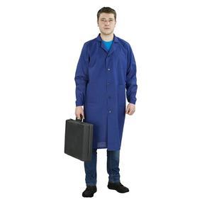 Халат мужской рабочий рукав длинный бязь синяя 60-62 рост 180-188 фото