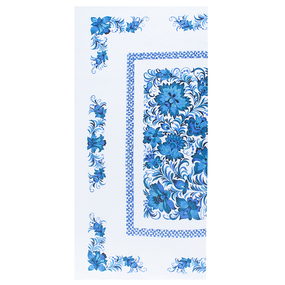 Полотенце полулен 40/80 Цветы цвет синий фото