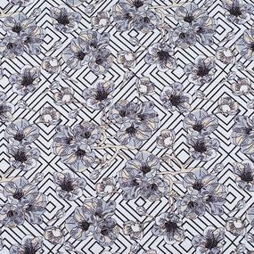 Ткань на отрез кулирка Цветы на белом R3220-V1 фото