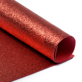 Фоамиран глиттерный 2 мм 20/30 см уп 10 шт MG.GLIT.H001 цвет красный фото