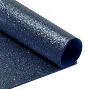 Фоамиран глиттерный 2 мм 20/30 см уп 10 шт MG.GLIT.H021 цвет темно-синий фото