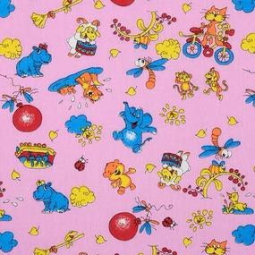 Ткань на отрез бязь ГОСТ детская 150 см 42/3 Зоопарк цвет розовый фото