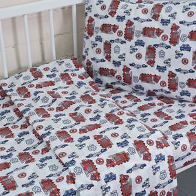 Постельное белье в детскую кроватку из поплина 1867 с простыней на резинке фото