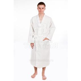 Халат мужской вафельный шалька белый 220 гр/м2 р.58 фото