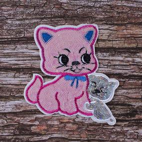 Аппликация ТАП 31 розовая кошка с котенком 12*11см фото