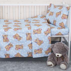Постельное белье в детскую кроватку из бязи ГОСТ 1286/3 Соня голубой фото