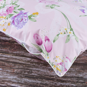Наперник Тик кант молния Цветы 005 розовый 60/60. фото