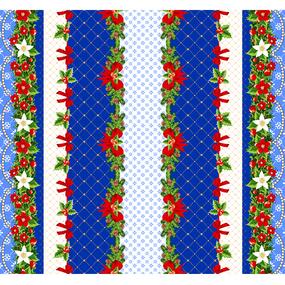 Вафельное полотно набивное 150 см 454-1 Новогодний цвет синий фото