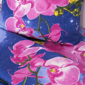 Постельное белье бязь ГОСТ 306/1 Орхидеи цвет синий 1.5 сп с 1-ой нав. 70/70 фото