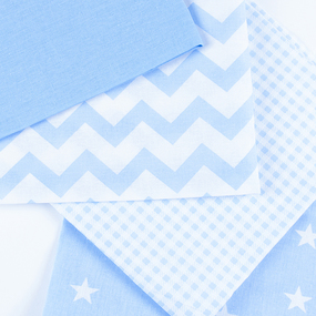 Набор отрезов ткани 50/50 +/- 5 см 4 шт 114 цвет голубой фото