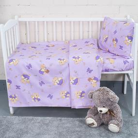 Постельное белье в детскую кроватку из бязи 1332/3 За медом сиреневый с простыней на резинке фото