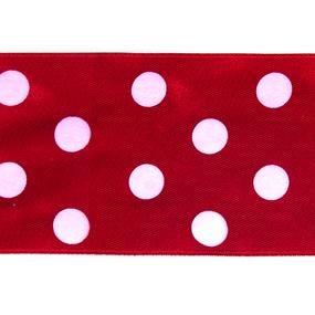 Лента атласная горох ширина 50 мм (27,4 м) цвет 250029 красный-белый фото