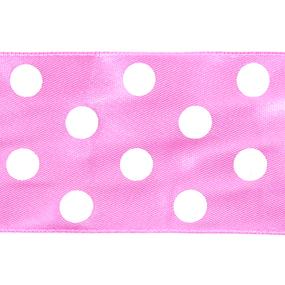 Лента атласная горох ширина 50 мм (27,4 м) цвет 155029 светло-розовый-белый фото
