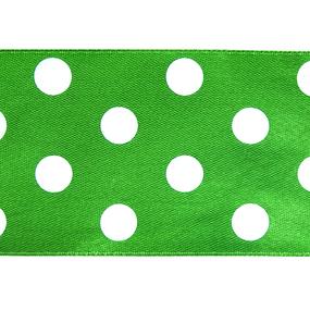 Лента атласная горох ширина 50 мм (27,4 м) цвет 579029 зеленый-белый фото