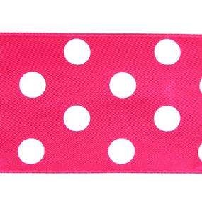 Лента атласная горох ширина 50 мм (27,4 м) цвет 175029 розовый-белый фото