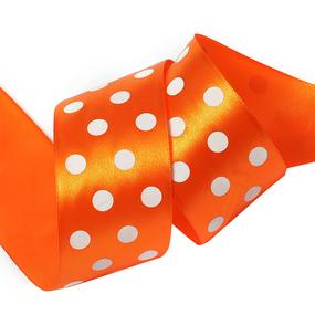 Лента атласная горох ширина 50 мм (27,4 м) цвет 668029 оранжевый-белый фото