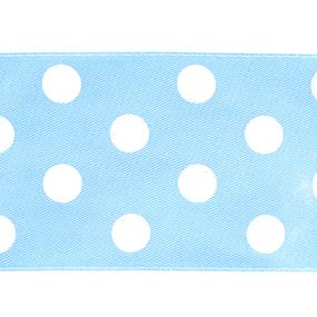 Лента атласная горох ширина 50 мм (27,4 м) цвет 311029 голубой-белый фото