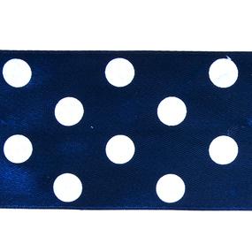 Лента атласная горох ширина 50 мм (27,4 м) цвет 370029 темно-синий-белый фото
