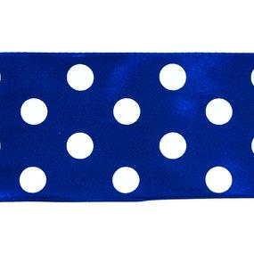Лента атласная горох ширина 50 мм (27,4 м) цвет 329029 синий-белый фото