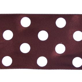 Лента атласная горох ширина 50 мм (27,4 м) цвет 868029 коричневый-белый фото