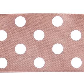 Лента атласная горох ширина 50 мм (27,4 м) цвет 812029 светло-коричневый-белый фото