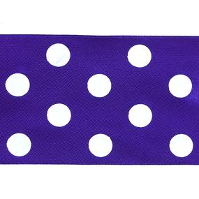 Лента атласная горох ширина 50 мм (27,4 м) цвет 465029 сиреневый-белый фото