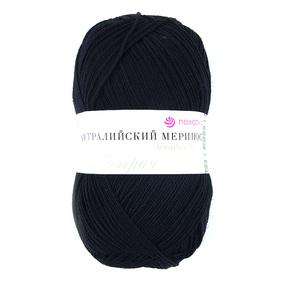 Пряжа для вязания ПЕХ Австралийский меринос 100гр/400м цвет 002 черный фото