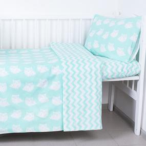 Постельное белье в детскую кроватку 106 Совы мята фото