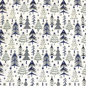 Ткань на отрез рогожка 150 см 7377/3 Елочки цвет синий фото