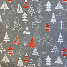 Ткань на отрез рогожка 150 см 7376/1 Новогодний хоровод красный фото