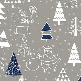 Ткань на отрез рогожка 150 см 7376/3 Новогодний хоровод синий фото