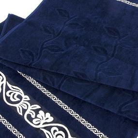 Полотенце велюровое Европа 70/130 см цвет синий с вензелями фото
