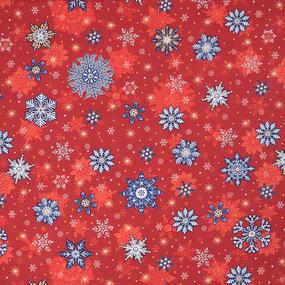 Ткань на отрез вафельное полотно набивное 150 см 35033/1 Снежинки цвет красный фото