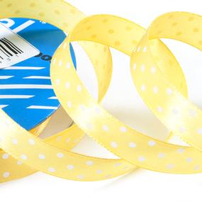 Лента атласная горох ширина 12 мм (27,4 м) цвет 640029 желтый-белый фото