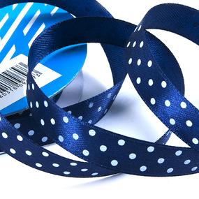 Лента атласная горох ширина 12 мм (27,4 м) цвет 370029 темно-синий-белый фото