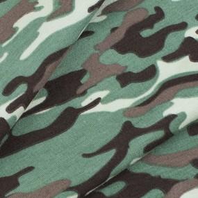 Ткань на отрез кулирка лайкра пенье Камуфляж В хаки R163 фото