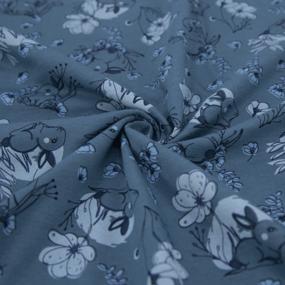 Ткань на отрез кулирка 3348-V12 Зайка цвет серо-синий фото