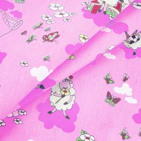 Бязь ГОСТ детская 150 см 317/2 Овечки цвет розовый фото