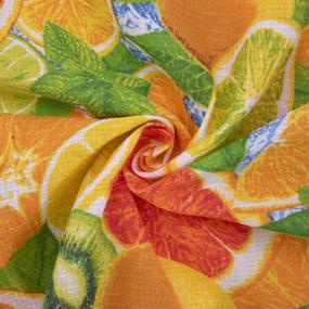 Ткань на отрез вафельное полотно набивное 150 см 389/1 Цитрус фото