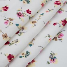 Ткань на отрез штапель 150 см D033 Цветы на белом фото