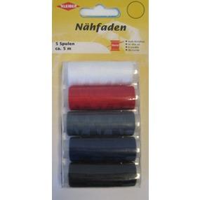 710-09 Kleiber Набор швейных ниток № 60, 100% полиэстер, 5шт (белый, красный, серый, синий, черный) фото
