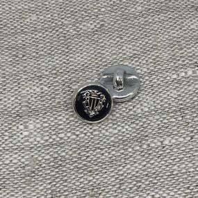 Пуговица ПР195 11 мм черная герб серебро уп 12 шт фото
