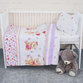 Постельное белье в детскую кроватку из поплина 10601/1 Малыш с простыней на резинке фото